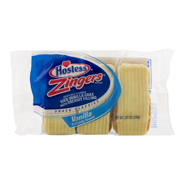 Hostess Zingers Iced Vanilla Cake with Creamy Filling - 3 ct