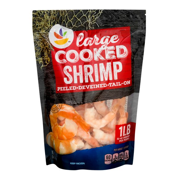 Giant Cooked Shrimp Tail-On Large - 31-40 ct per lb Frozen