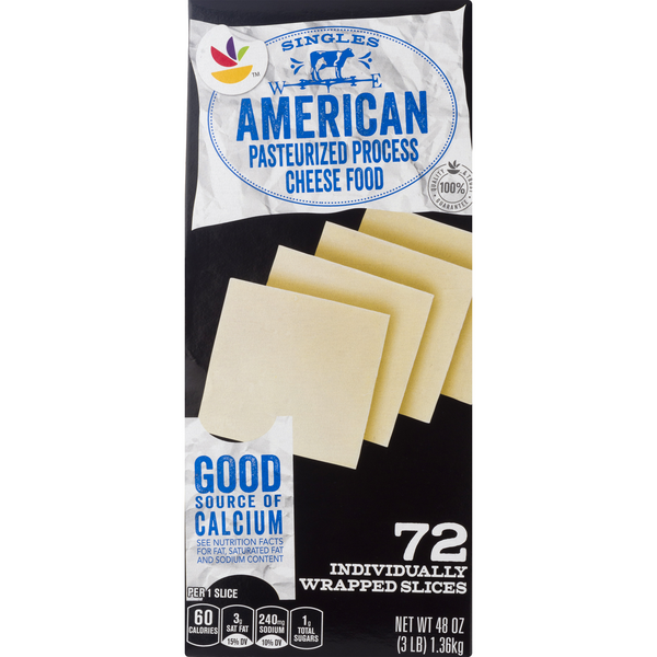 MARTIN'S American Cheese Food White Singles - 72 ct