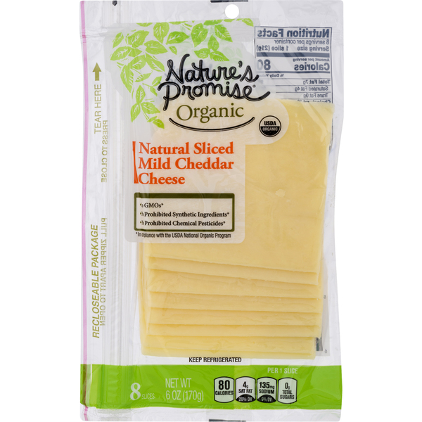 Nature's Promise Organic Cheddar Cheese Mild Slices - 8 ct