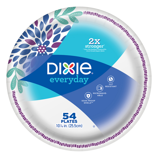 Dixie Everyday Paper Plates Soak Proof Shield Decorated 10 1/16 Inch