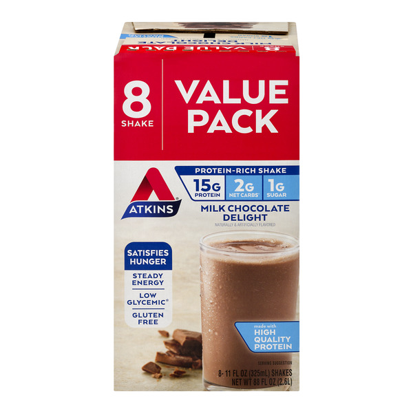 Atkins Protein-Rich Shakes Milk Chocolate Delight Value Pack - 8 ct