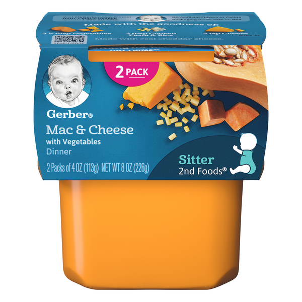 Gerber 2nd Baby Food Macaroni & Cheese with Vegetables Dinner - 2 ct