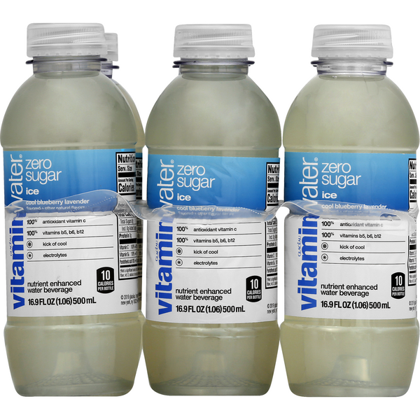 Vitaminwater Zero Sugar Ice Water Beverage Cool Blueberry Lavender - 6 pk