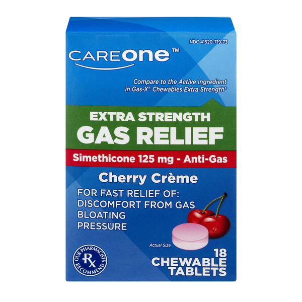 CareOne Gas Relief Extra Strength Cherry Creme Chewable Tablets