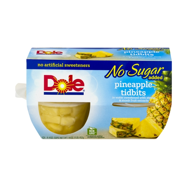 Dole Fruit Bowls Pineapple Tidbits No Sugar Added - 4 ct