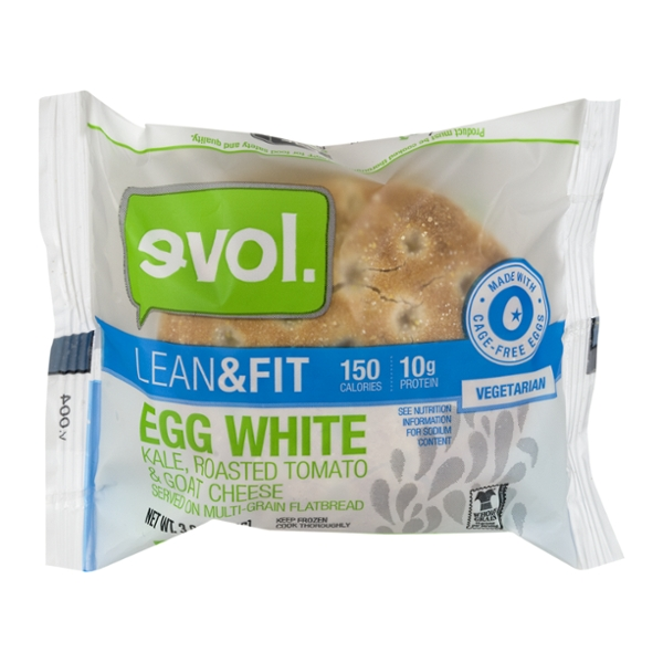 evol. Lean & Fit Flatbread Sandwich Egg White, Kale, Tomato & Goat Cheese