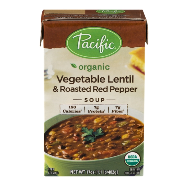 Pacific Foods Vegetable Lentil & Roasted Red Pepper Soup Organic