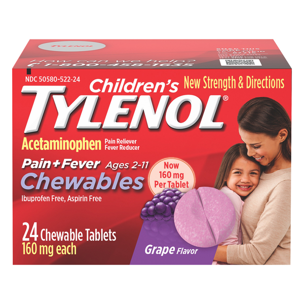 Children's Tylenol Pain + Fever Chewable Tablets Grape