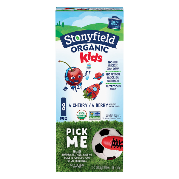 Stonyfield YoKids Squeezers Yogurt Berry & Cherry Low Fat Organic - 8 ct