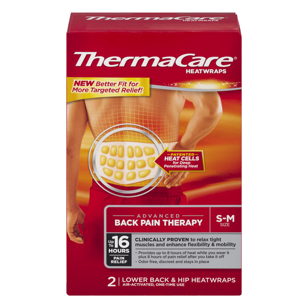 ThermaCare Back Pain Therapy Heatwraps S-M