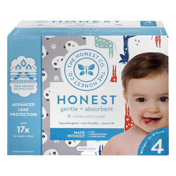 Honest Gentle + Absorbent Size 4 Diapers 22-37 lbs