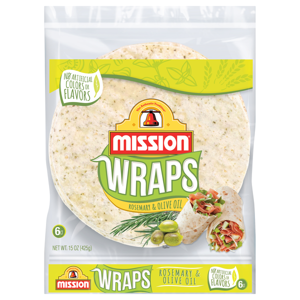 Mission Rosemary & Olive Oil Wraps - 6 ct