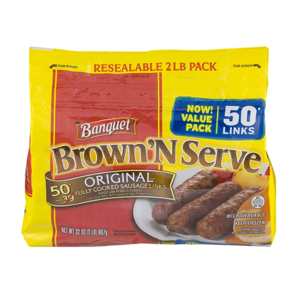 Banquet Brown 'N Serve Sausage Links Original - 50 ct Frozen