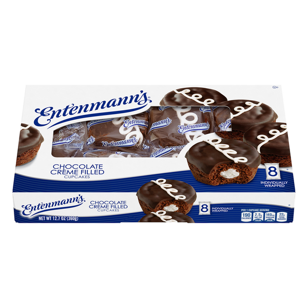Entenmann's Cupcakes Chocolate Creme Filled - 8 ct