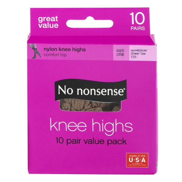 No nonsense Nylon Knee Highs Size One Tan
