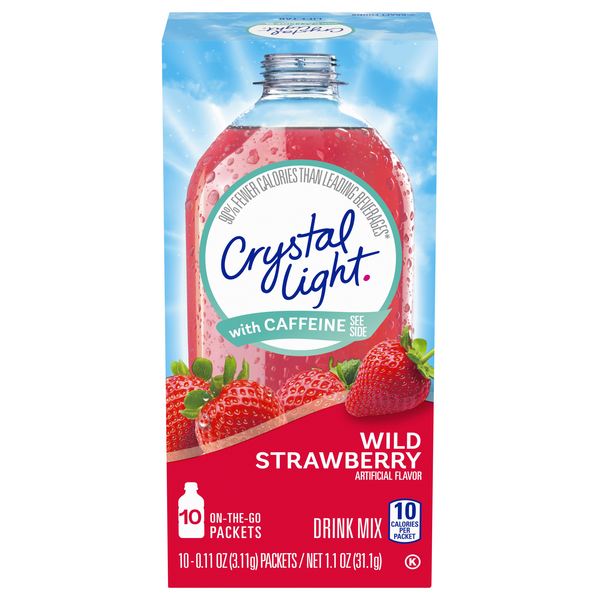 Crystal Light On-the-Go Drink Mix Wild Strawberry with Caffeine - 10 ct