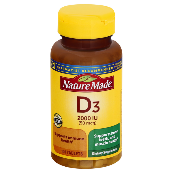 Nature Made Vitamin D3 2000 IU Dietary Supplement Tablets