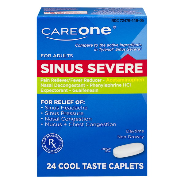 CareOne Sinus Relief Severe Pain Reliever Expectorant Nasal Decongestant