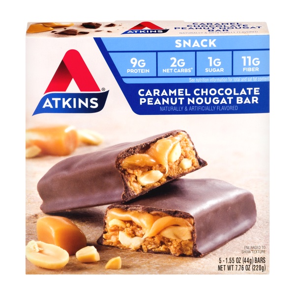 Atkins Snack Bars Caramel Chocolate Peanut Nougat - 5 ct