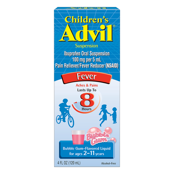 Advil Children's Suspension Fever Pain Reliever Ibuprofen Bubble Gum 100mg