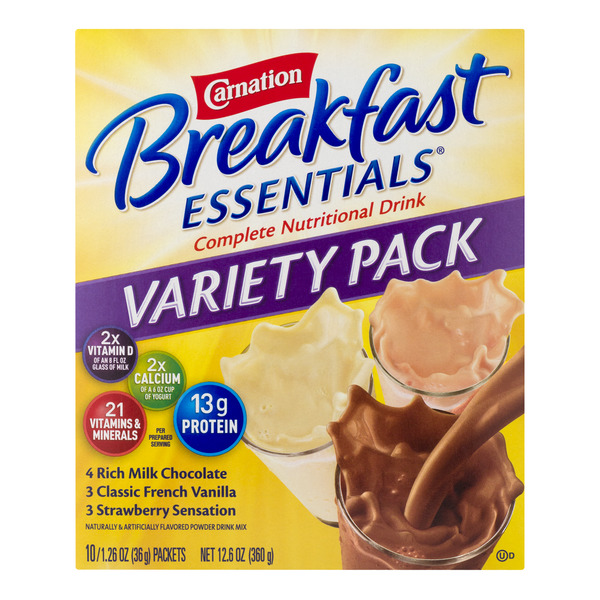 Carnation Breakfast Essentials Nutritional Drink Mix Variety Pack - 10 ct