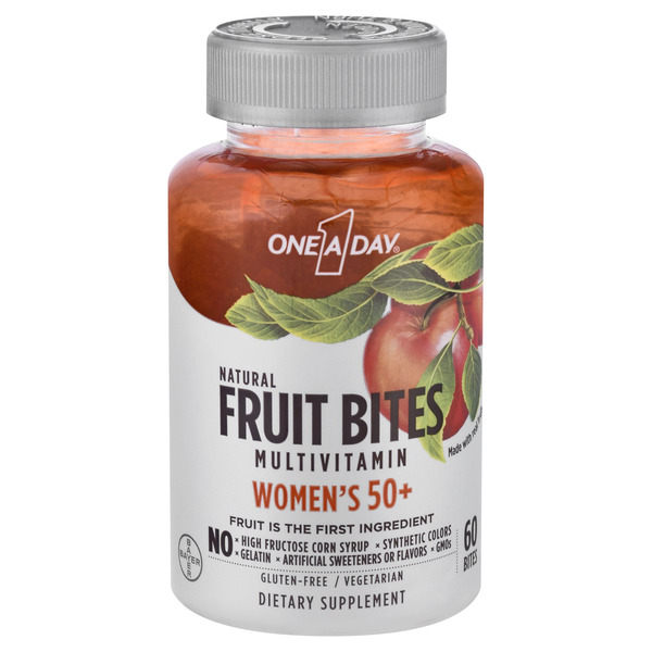 One A Day Women's 50+ Multivitamin Supplement Natural Fruit Bites