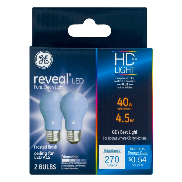 GE Reveal LED HD+ Ceiling Fan Light Bulb Frosted Dimmable 40W