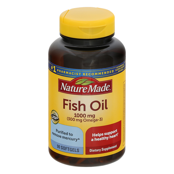 Nature Made Fish Oil 1000 mg (Omega-3 300 mg) Dietary Supplement Softgels