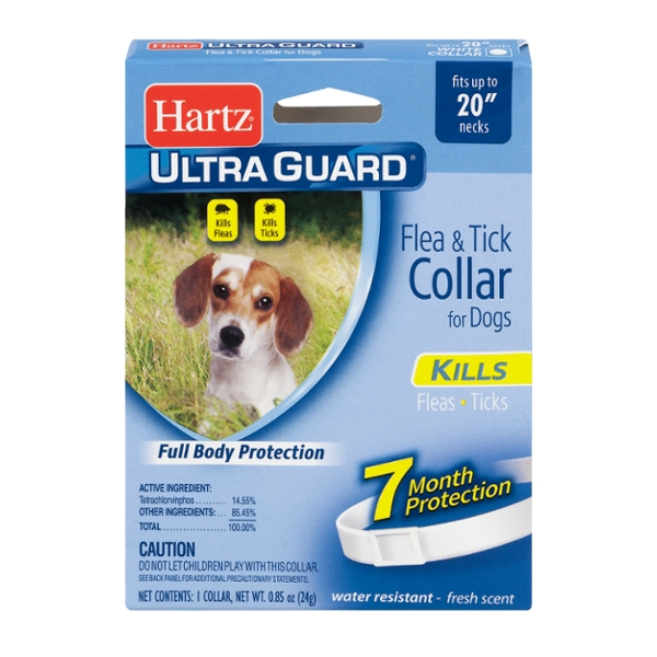 Hartz UltraGuard Flea & Tick Collar for Dogs w/Necks up to 20 Inch White