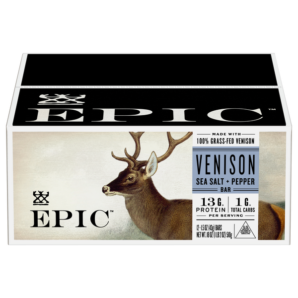 EPIC Venison Sea Salt Pepper Bar Gluten Free - 12 ct