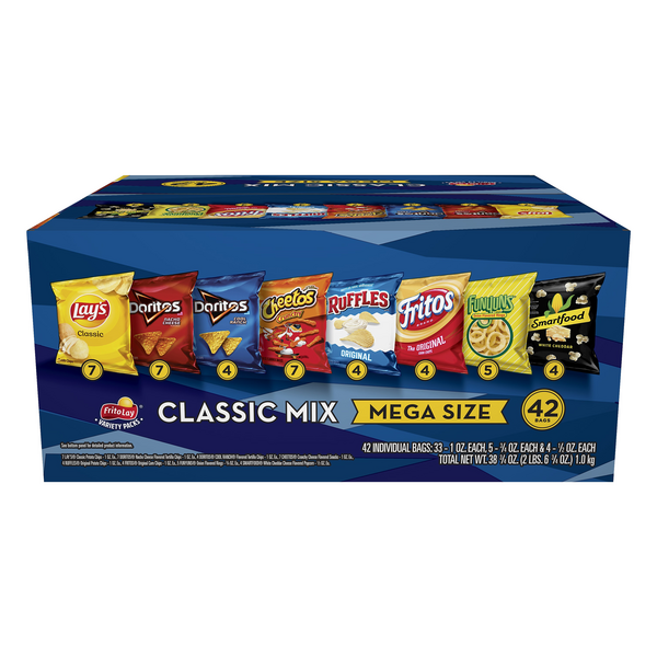 Lay's Classic Mix Variety Pack Mega Size - 42 ct