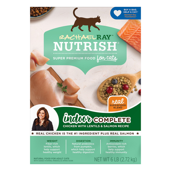 Rachael Ray Nutrish Indoor Complete Dry Cat Food Chicken Lentil & Salmon
