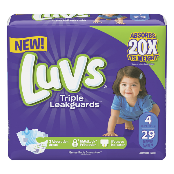 Luvs Triple LeakGuards Size 4 Diapers 22-37 lbs