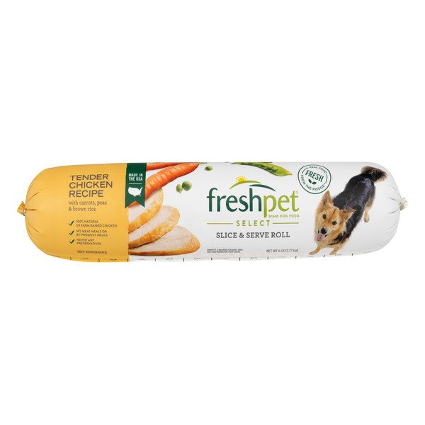 Freshpet Select Refrigerated Dog Food Tender Chicken Slice & Serve Roll