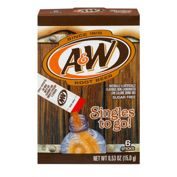 A & W Singles To Go! Drink Mix Packets Root Beer Sugar Free - 6 ct