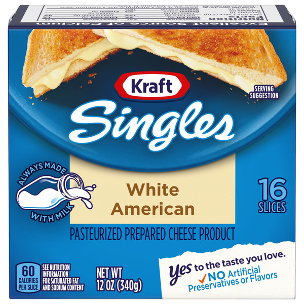 Kraft Singles White American Cheese Slices - 16 ct