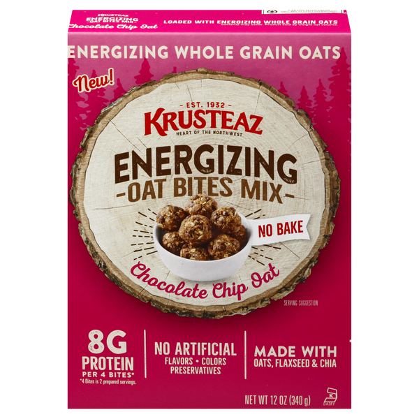 Krusteaz No Bake Energizing Oat Bites Mix Chocolate Chip Oat