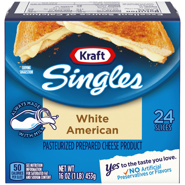 Kraft Singles White American Cheese Slices - 24 ct