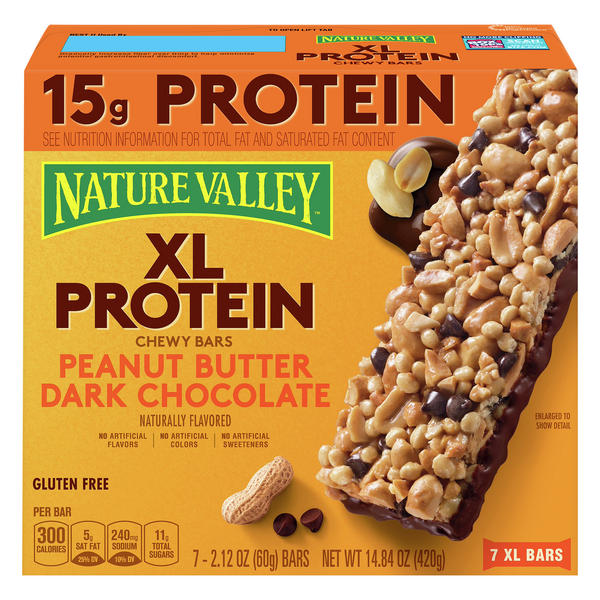 Nature Valley XL Protein Chewy Bars Peanut Butter Dark Chocolate - 7 ct