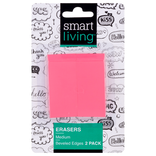 Smart Living Erasers Wedge Pink