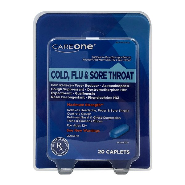 CareOne Maximum Strength Cold, Flu & Sore Throat Caplets