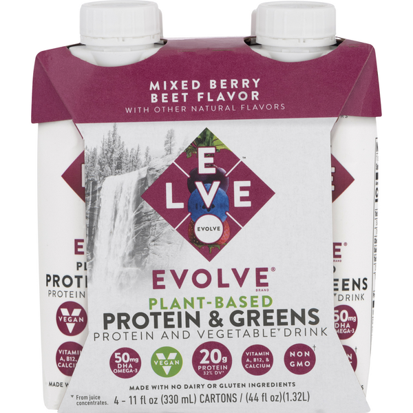 Evolve Plant-Based Protein & Greens Drink Mixed Berry - 4 pk