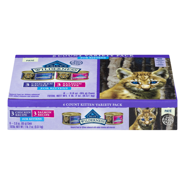 BLUE Wilderness Wet Kitten Food Pate Variety Pack Grain Free Natural 6 ct