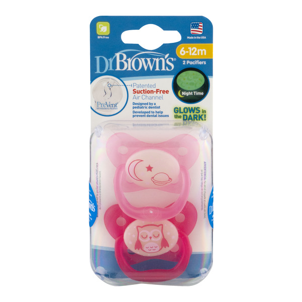 Dr Brown's Suction-Free Air Channel Pacifiers 6-12m - 2 ct
