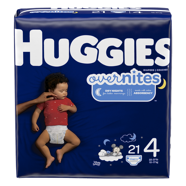 Huggies Overnites Size 4 Diapers 22-37 lbs