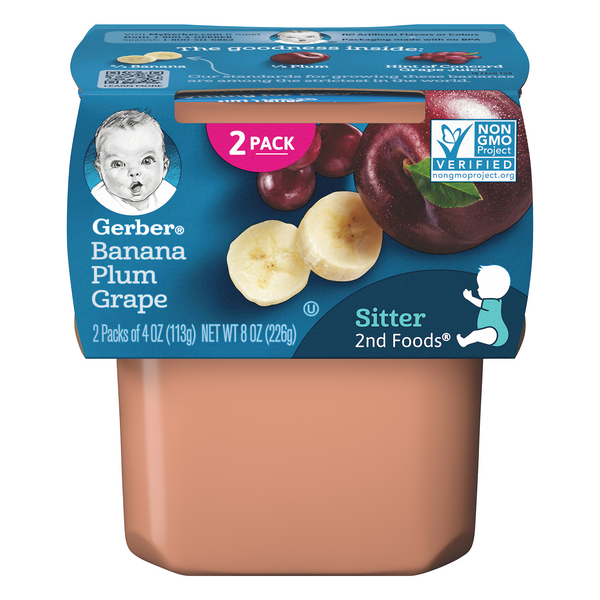 Gerber 2nd Baby Food Banana Plum Grape - 2 ct