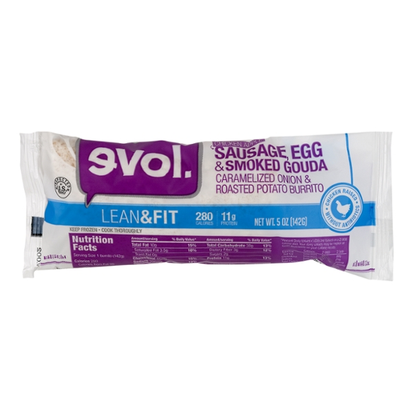 evol. Lean & Fit Burrito Chicken Apple Sausage, Egg & Smoked Gouda