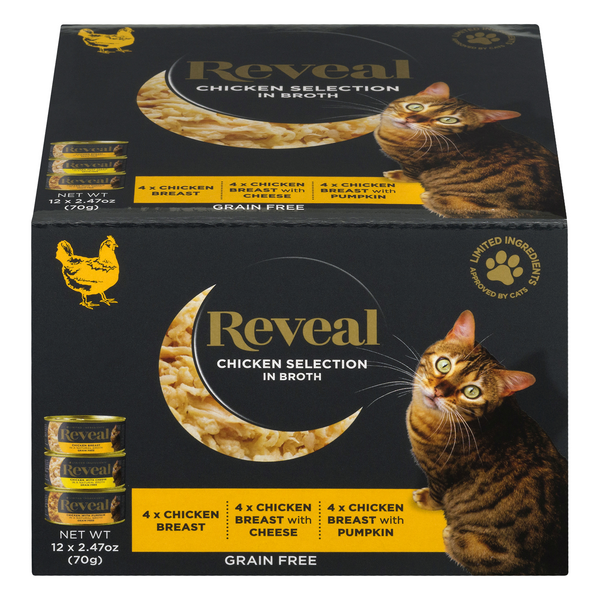 Reveal Wet Cat Food Chicken in Broth Variety Grain Free Natural - 12 ct