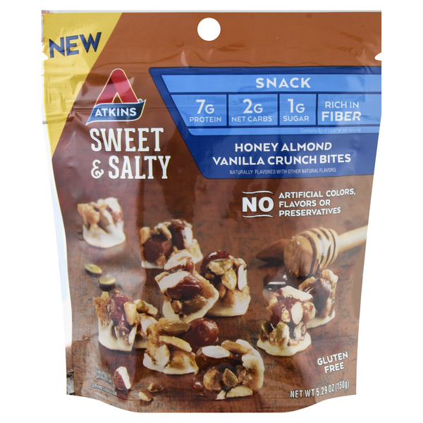 Atkins Crunch Bites Honey Almond Vanilla Gluten Free